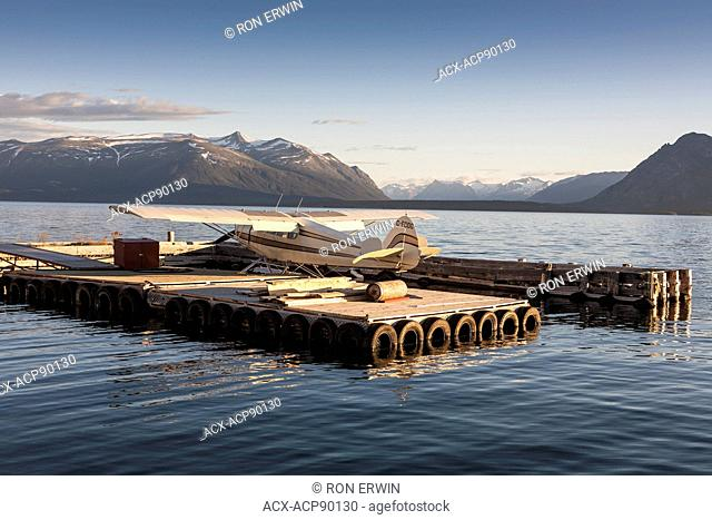 Float plane docked on Atlin Lake in Atlin, British Columbia, Canada