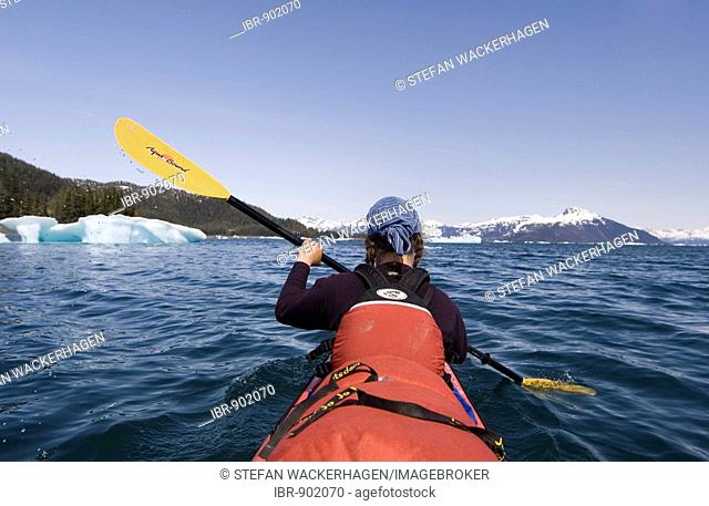 Sea kayak front paddler in double, Columbia Bay, Pacific Coast, Chugach National Forest, Prince William Sound, Alaska, USA