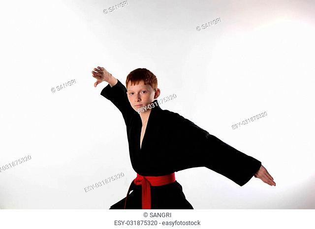 Young but quite professional athlete demonstrates combat receptions and poses