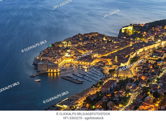 The town at dusk from an elevated point of view. Dubrovnik, Dubrovnik - Neretva county, Croatia