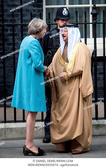 King of Bahrain Hamad bin Isa Al Khalifa meets Theresa May at 10 Downing Street. Featuring: Theresa May, Hamad bin Isa Al Khalifa Where: London