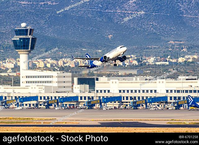 An Airbus A320neo aircraft of Aegean Airlines with registration number SX-NEA at Athens Airport (ATH), Athens, Greece, Europe