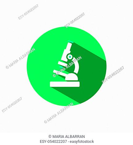 Microscope icon with shadow on a green circle. Flat color vector pharmacy illustration