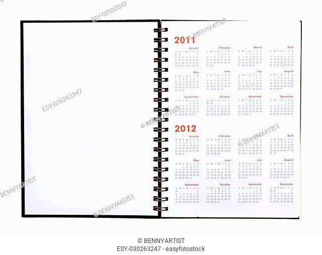 open note book with calendar 2011, 2012