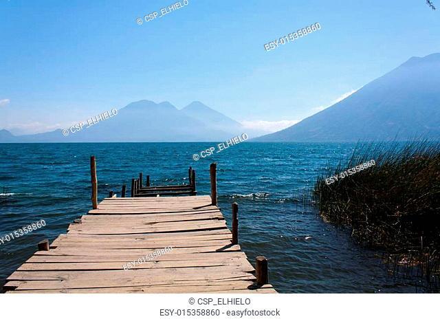 Lake Atitlan wooden pathway near San Marcos La Laguna Guatemala