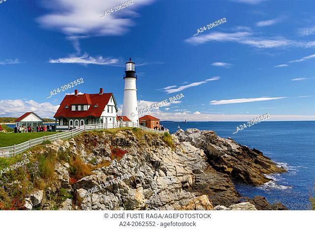 USA , Maine , Portland City , Portland Head Light Station , Fort Williams Park, Cape Elizabeth
