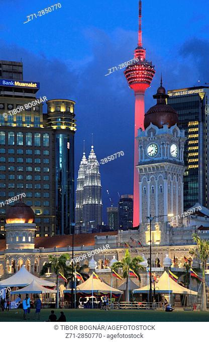 Malaysia, Kuala Lumpur, Merdeka Square, skyline, Sultan Abdul Samad Building,