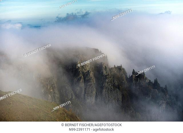 Martinswand, view from Hohneck, Vosges in autumn, clouds of fog, Alsace, France