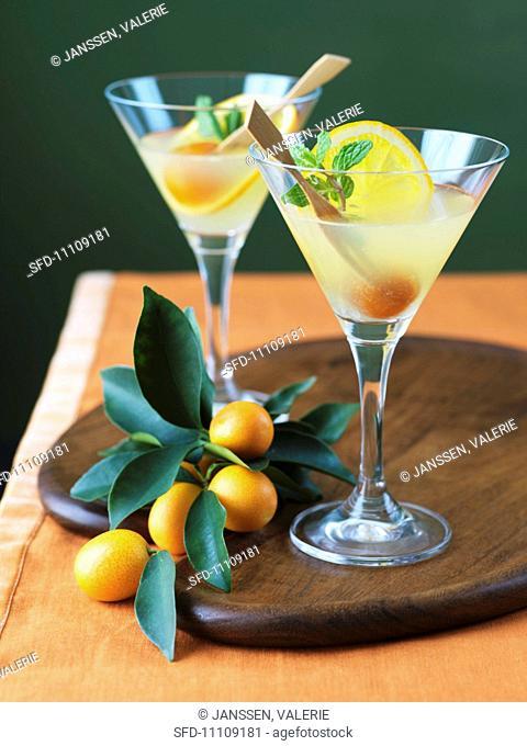 Two Kumquat Martinis, Fresh Kumquats