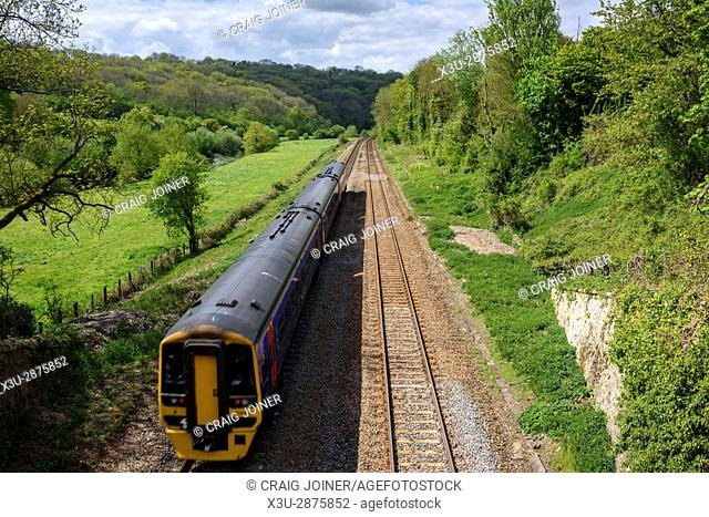 The Bath to Westbury railway line viewed from the Avoncliff Aqueduct carrying the Kennet and Avon Canal, Wiltshire, England