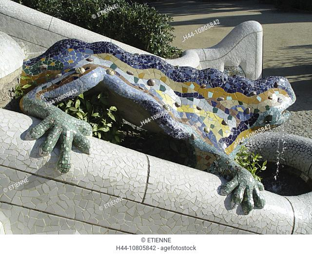 Barcelona, dragon, Gaudi, ceramics, mosaic, park Guell, sculpture, Spain, Europe, well