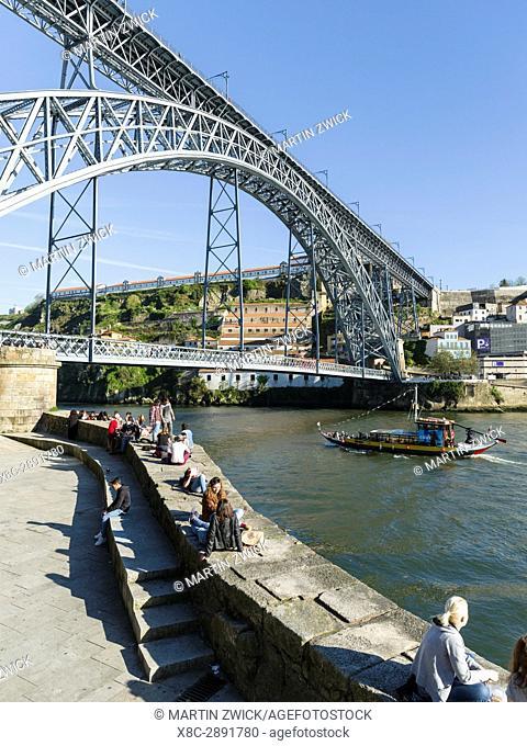 View from the old town Ribeira in Porto towards Vila Nova de Gaia and the bridge Ponte Dom Luis I . City Porto (Oporto) at Rio Douro in the north of Portugal