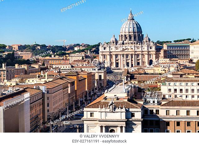 travel to Italy - St Peter's Basilica in Vatican city and street via Conciliazione in Rome from Castel of Holy Angel