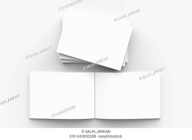 Horizontal - landscape hardcover brochure, book or catalog mock up isolated on soft gray background. 3D illustrating