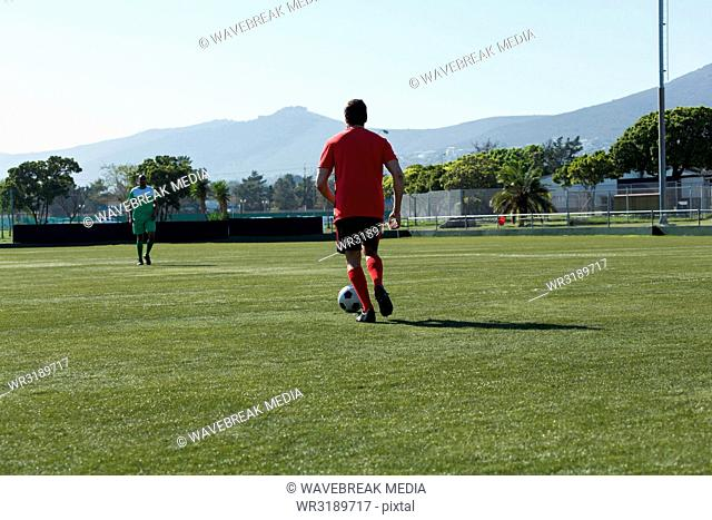 Player playing football soccer game