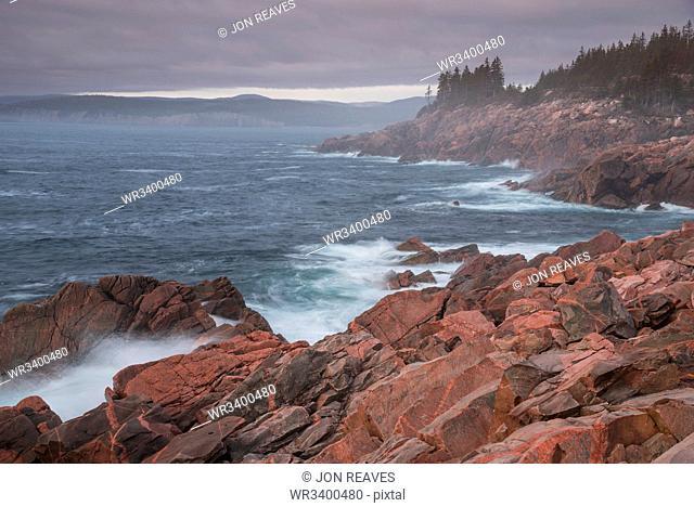 Waves crashing on rocks, Green Cove Look Off, Lackies Head, Cape Breton National Park, Nova Scotia, Canada, North America