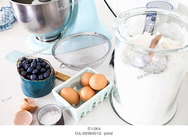 Food mixer, blueberries and carton of eggs on kitchen counter