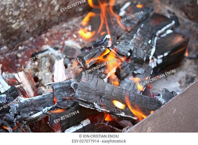 Barbeque fire, close up.