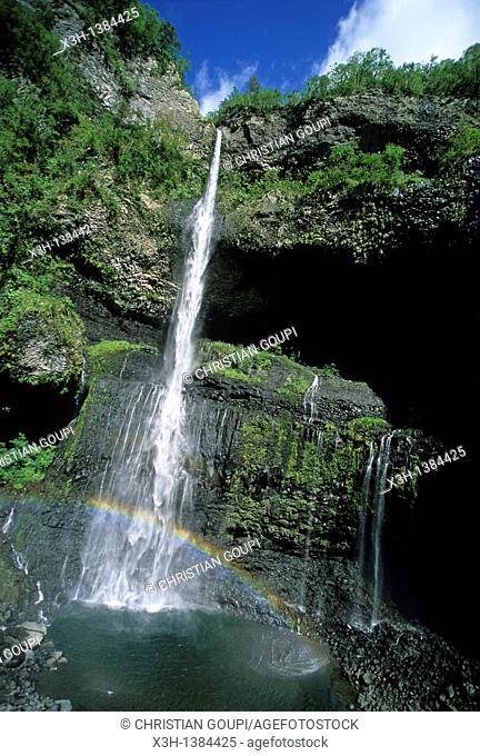 falls in the canyon Trou de Fer Reunion island, overseas departement of France, Indian Ocean
