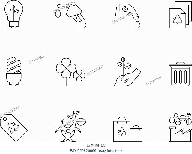 Environment icon series in thin outlines