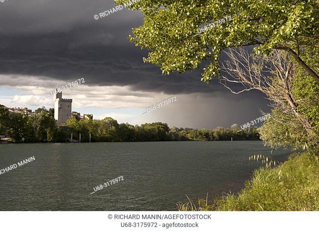 France, Gard, Villeneuve les avignon, Rhône river, The Philippe-le-Bel tower is a 14th century fortress