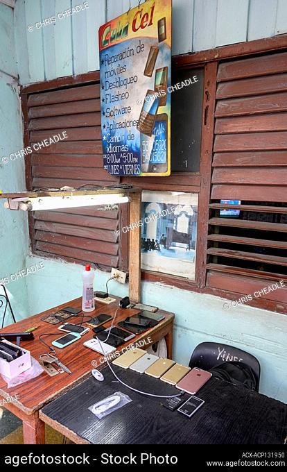Mobile phone servicing business, Havana Vieja, , Cuba
