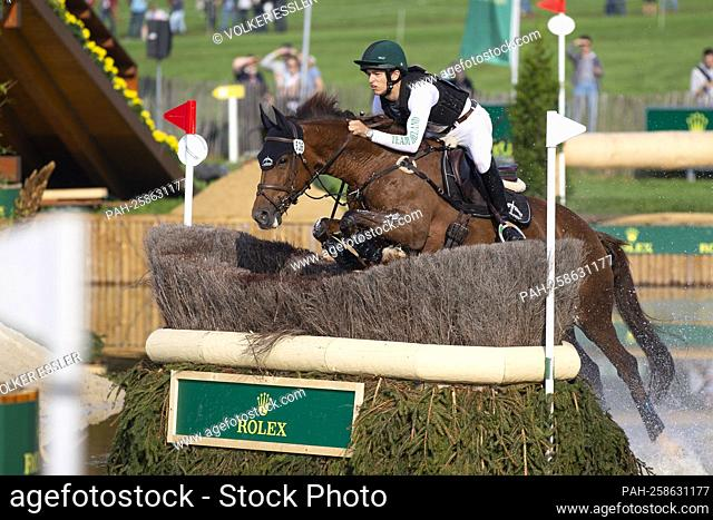 Cathal DANIELS (IRL) on Rioghan Rua, action in the water, in the Rolex Complex, eventing, cross-country C1C: SAP Cup, on September 18, 2021