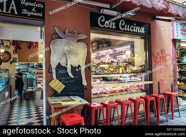 Meat shop on Mercato di Mezzo food market in Bologna, capital and largest city of the Emilia Romagna region in Northern Italy