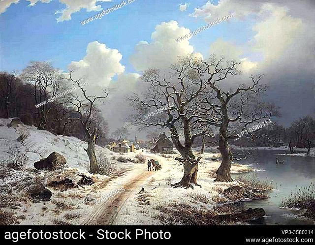 Duntze Johannes Bertholomaus - a Frozen Winter Landscape - German School - 19th and Early 20th Century
