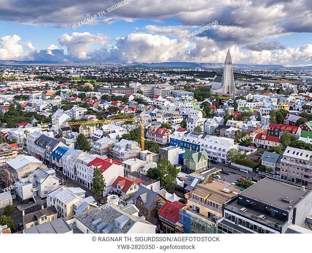 Colorful roofs and homes, Reykjavik, Iceland. This image is shot with a drone