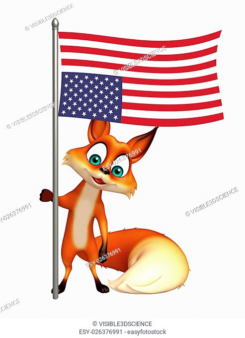 3d rendered illustration of Fox cartoon character with flag