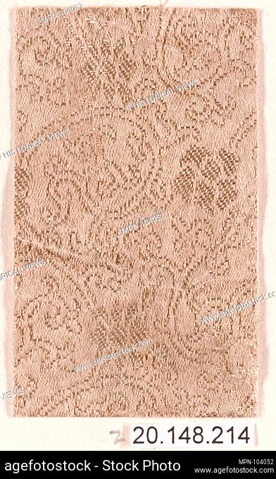 Piece. Date: 17th century; Culture: Japan; Medium: Silk / Compound weave; Dimensions: 2 1/8 x 1 5/8 in. (5.4 x 4.1 cm); Classification: Textiles-Woven; Credit...