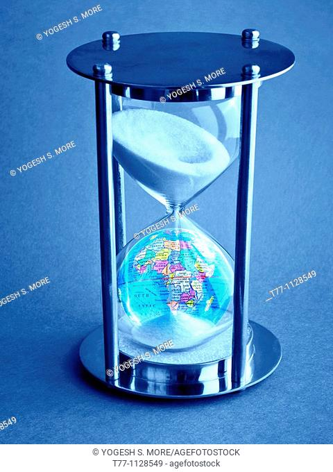 Hourglass with globe