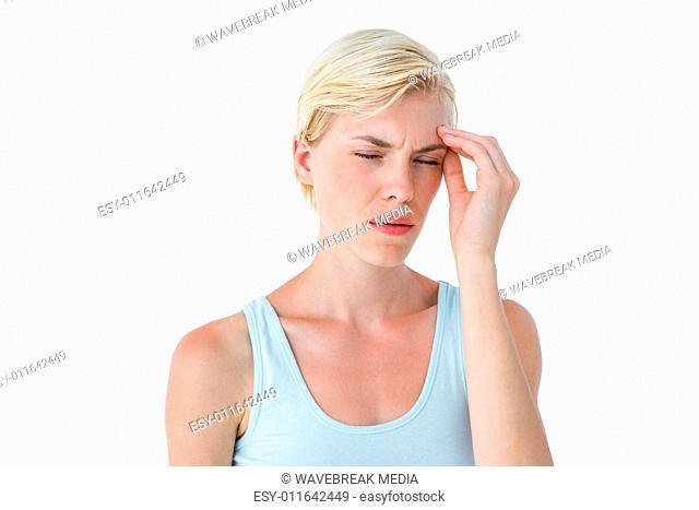Attractive woman having headache