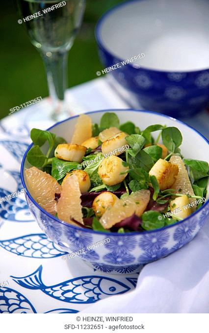 Scallop and grapefruit salad