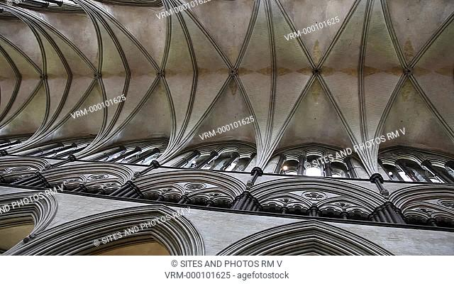 PAN, interior, shot of the vaulted ceiling of the nave from directly below. The construction of the church began in 1220, and it was consecrated in 1258