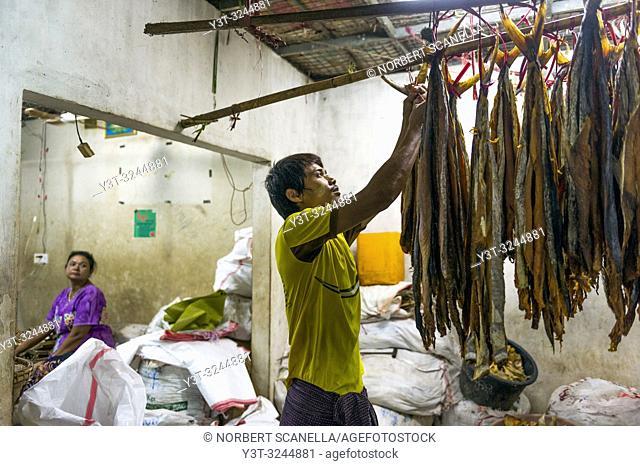 Myanmar (formerly Burma). Mon State. Mawlamyine (Moulmein). Covered market. Dried fish merchant