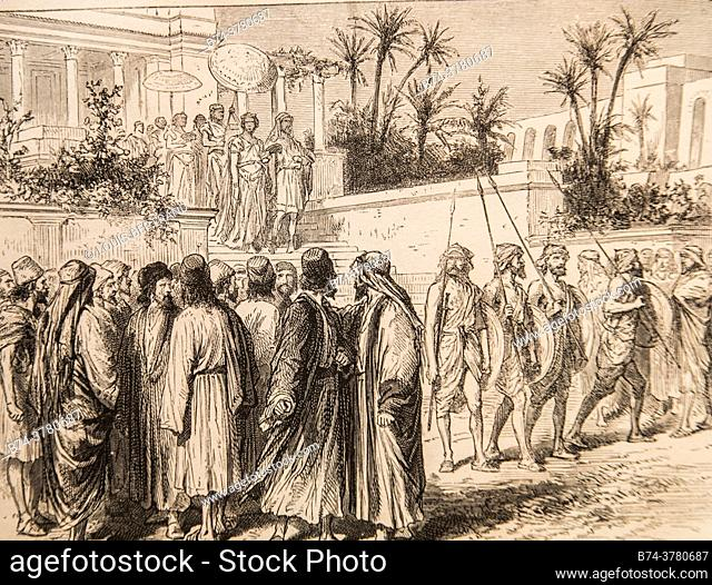 the jewish prescriptions on the marshland were constantly a stone of scandal, life of jesus by ernest renan, drawings by godefroy durand