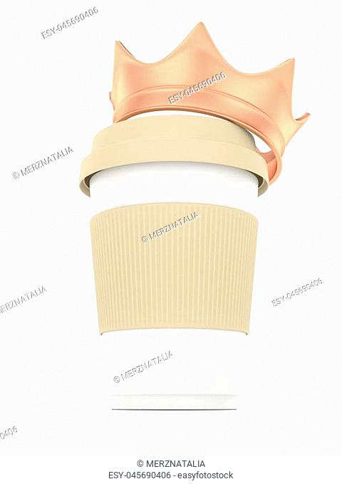 Coffee cup with bronze crown on white background. Concept of luxury royal coffee. 3D rendering