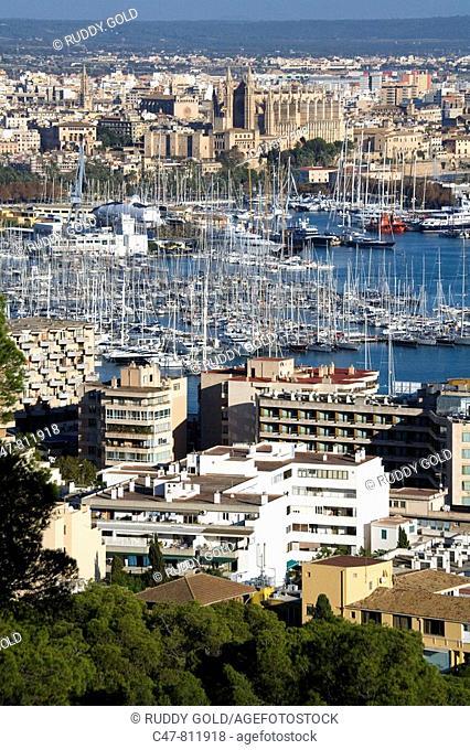 Palma de Mallorca harbor bay from Bellver castle, Majorca, Balearic Islands, Spain