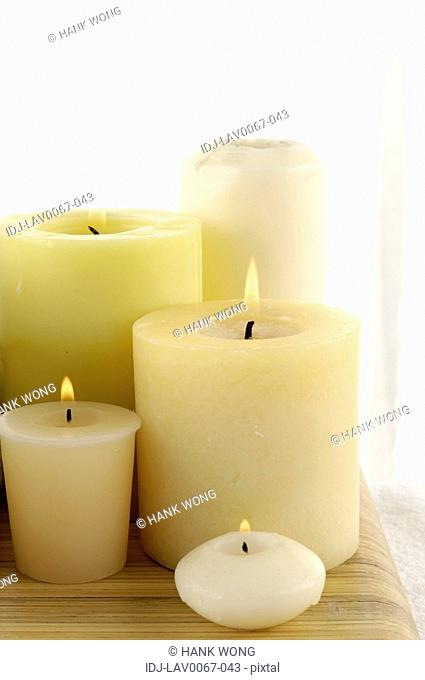 candles burning in spa
