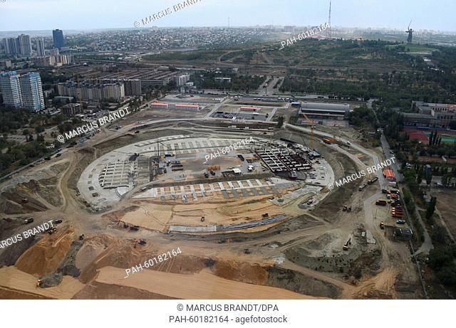 The construction site of the 2018 World Cup stadium in Volgograd, Russia, 15 July 2015. Matches in the football World Cup 2018 will be played here in the city...