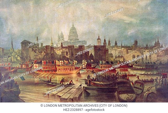 The Lord Mayor's procession by water to Westminster, London, c1820. The Lord Mayor's Barge travelling up the Thames