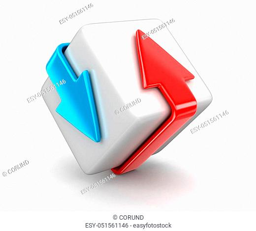 Arrows around box. Image with clipping path