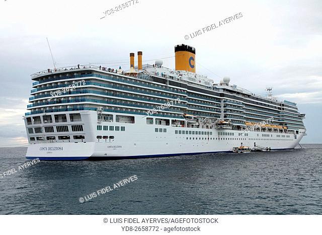 Costa Cruises cruise anchored off Catalina Island, Dominican Republic