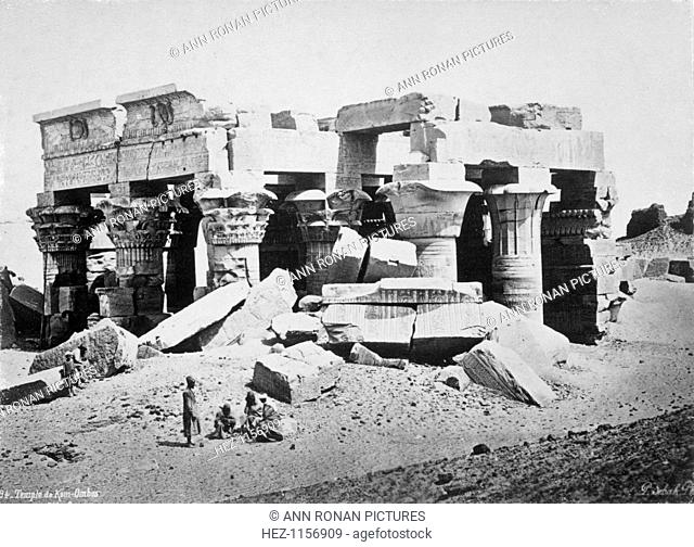 Kom Ombo, Egypt, 1878. Photograph of the Ancient Egyptian temple of Kom Ombo by Pascal Sebah who was based on Constantinople