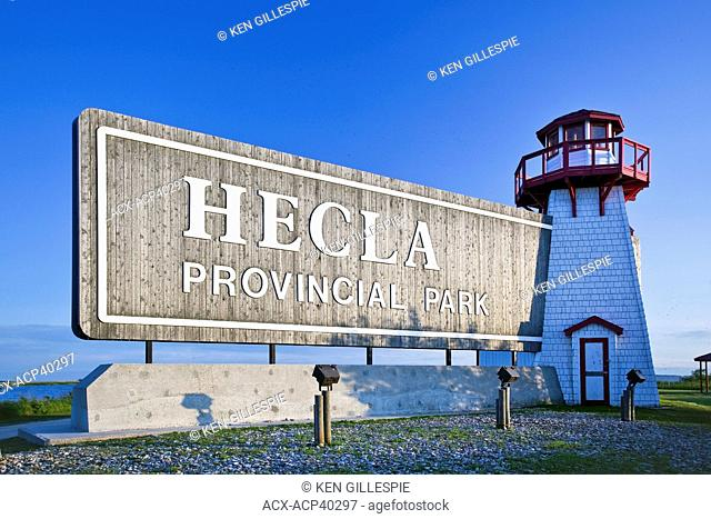 Entrance sign to Hecla Provincial Park, Manitoba, Canada
