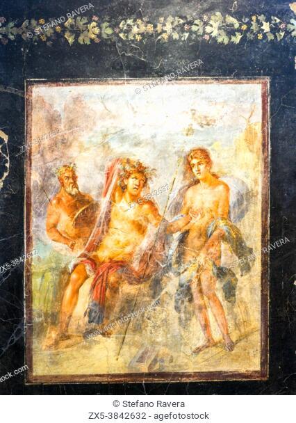 Decorative fresco depicting Dionysus and Ariadne in Naxos (period of Nero (54-68 AD) - Pompeii archaeological site, Italy