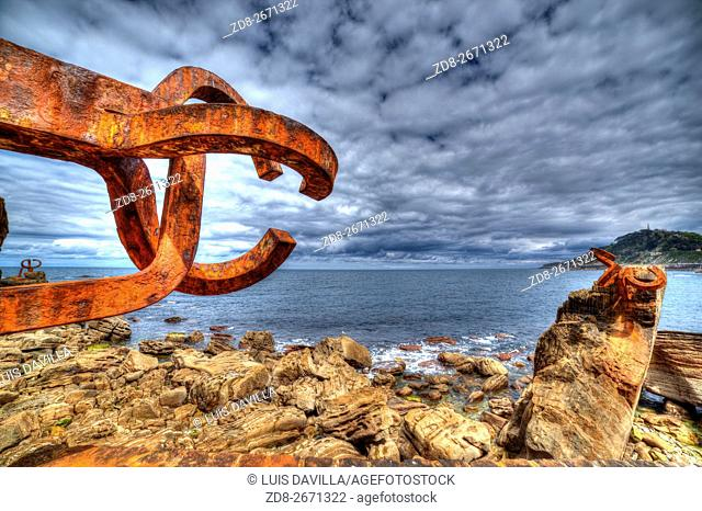 comb of the wind sculture or peine del viento of eduardo chillida artist. san sebastian. spain