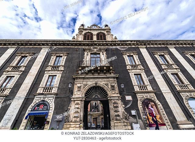 Palazzo Tezzano (Tezzano Palace) on Piazza Stesicoro (Stesicoro Square) in Catania city on the east side of Sicily Island, Italy